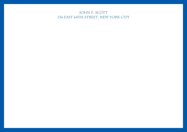 White online correspondence card with blue frame and text. Blue.