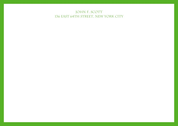 White online correspondence card with blue frame and text. Green.