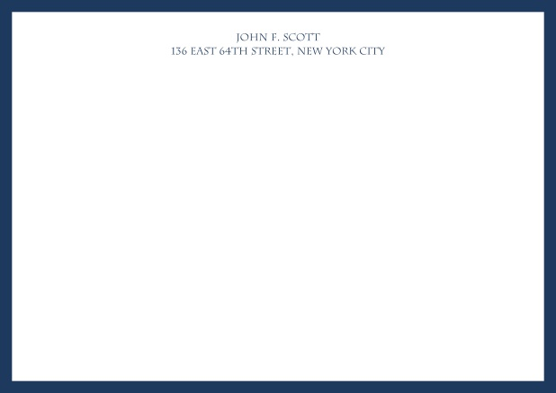 White online correspondence card with blue frame and text. Navy.