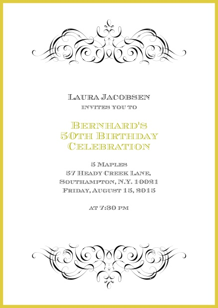 Online Invitation With Ornament On Top And Bottom For 50th Birthday