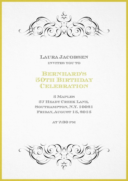 Invitation With Ornament On Top And Bottom For 50th Birthday