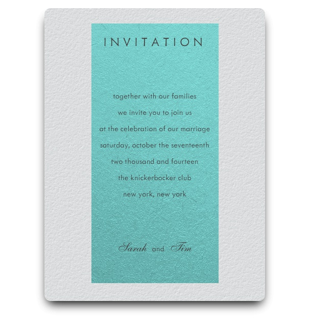 Mordern invitation card with turquoise textfield.