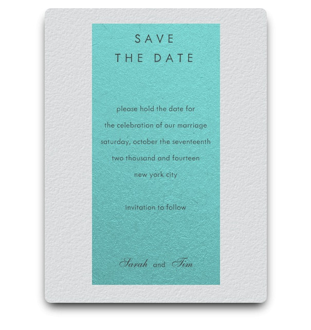 White Save the Date card with turquoise text space to fill with the info.