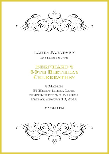 Online Invitation With Ornament On Top And Bottom For 60th Birthday