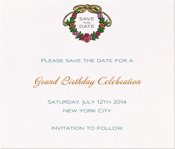 White Classic Party Save the Date Card with Wreath.