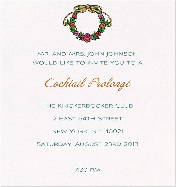 Seasonal Classic Party Invitation with wreath made of flowers.