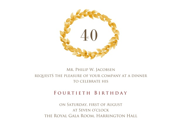 Crowned with 40 40th birthday online invitation with golden wreath on top for 40th birthday filmwisefo
