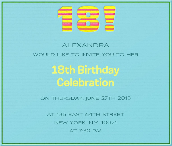 Square Blue Customizable 18th Birthday Invitation card with Colorful Header.