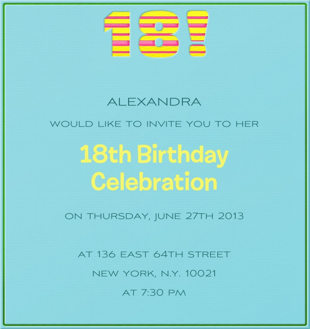 High Format Blue Customizable 18th Birthday Invitation card with Colorful Header.