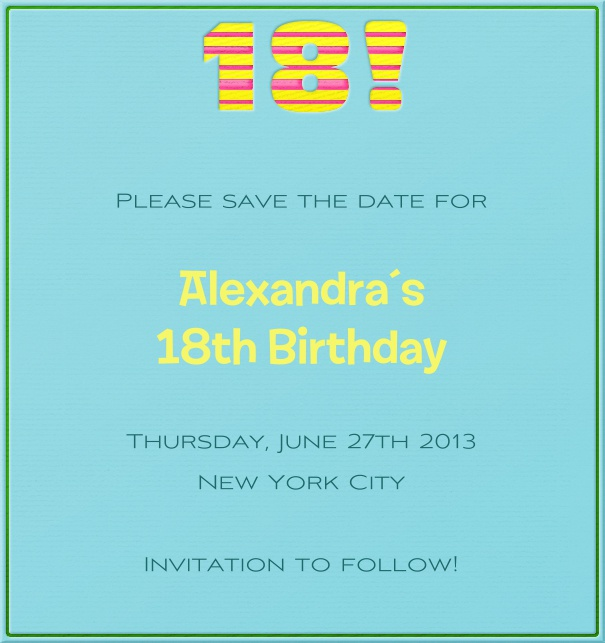 Rectangular Light Blue 18th Birthday Party Save the Date Card.