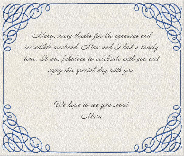 White Classic Chic Wedding Card with Calligraphic Frame.