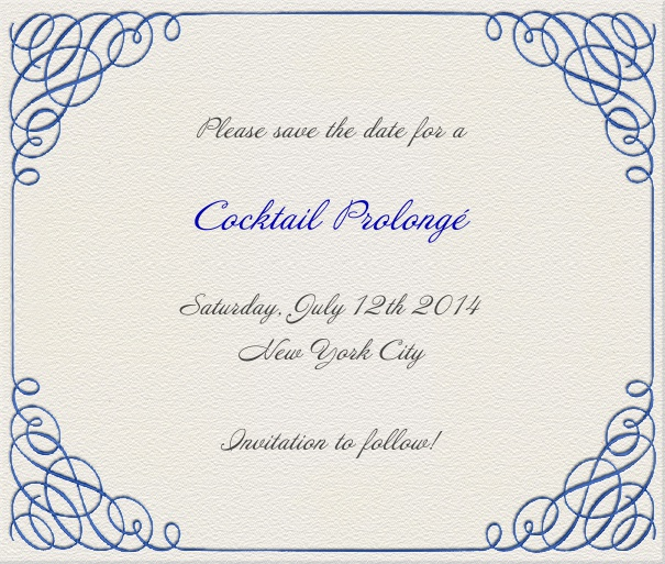 Wedding Save the Date Card with Calligraphic Blue Border.