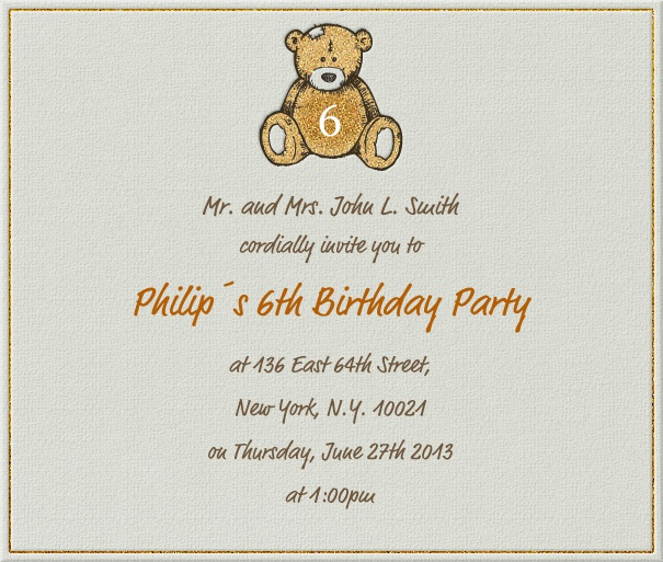 Square Teddy Bear Customizable Birthday Invitation Or Anniversary