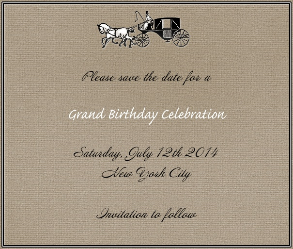 Brown Wedding Save the Date Card with Horse and Carriage Image.