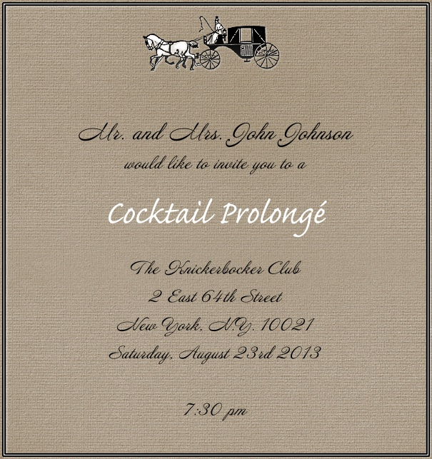 Brown, classic Wedding or Cocktail Invitation Card with horse and Carriage.
