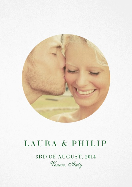 Wedding invitation card with oval photo box and text on the front page of a four paged design. Green.