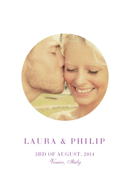 Online Wedding invitation card with oval photo box and text on the front page of a four paged design. Pink.