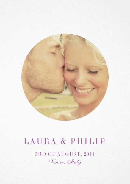 Wedding invitation card with oval photo box and text on the front page of a four paged design. Pink.