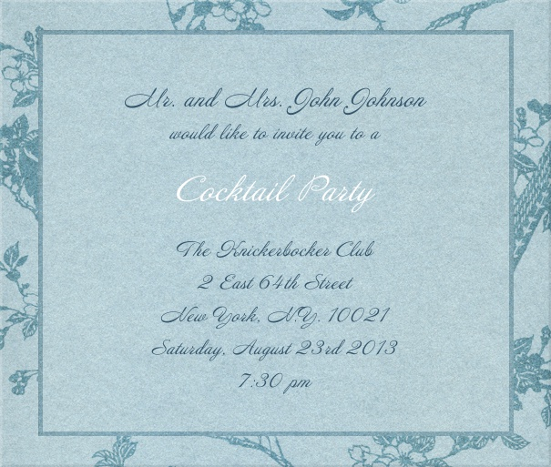Blue, classic Party Invitation Card with floral background.