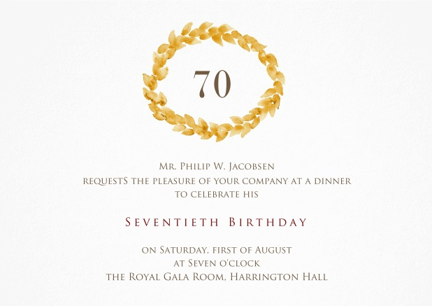 Invitation With Golden Wreath On Top For 70th Birthday