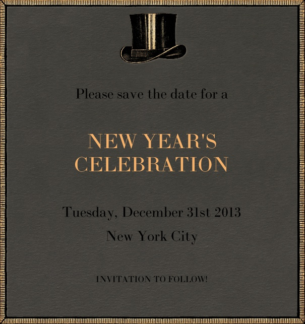High Black Event Celebration Save the Date Template with New Year's Theme and Top Hat Motif.