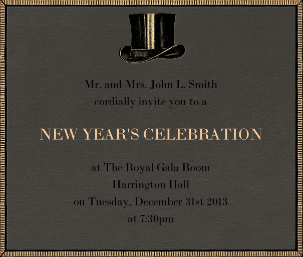 Grey celebration square format invitation card with golden border and top hat middle top of card.