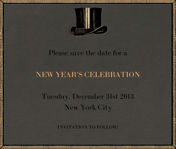 Black Event Celebration Save the Date Template with New Year's Theme and Top Hat Motif.