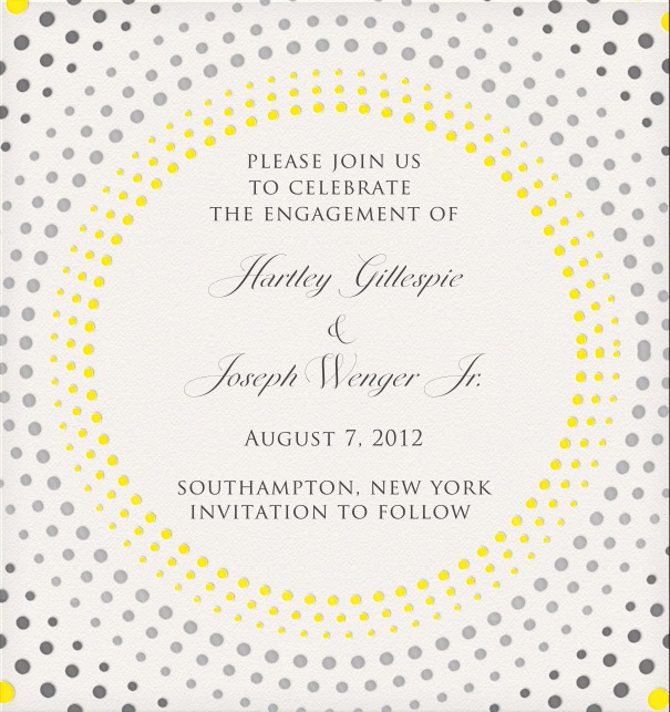 White Engagement or Wedding Invitation Template with circular dot design.