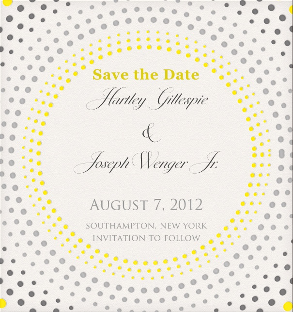 Save the Date Card with geometric dot design.