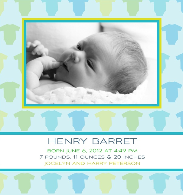 Online Birth Announcement Card with Photo Box and Baby Jumper Frame.