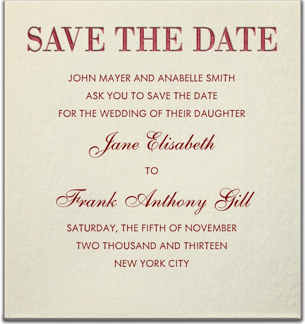 Beige classic Wedding Save the Date Card with Red Save the Date Header.