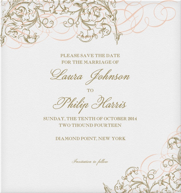 Beige Wedding Save the Date online designed by Pink Orange with floral border.
