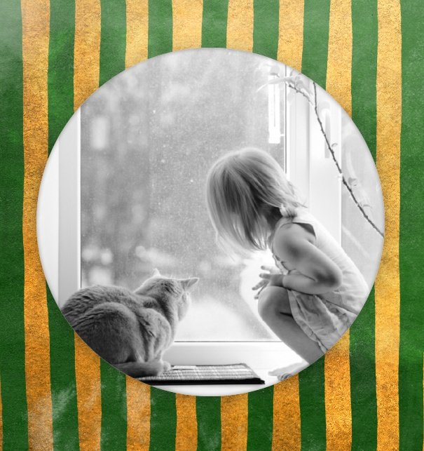 Two paged photo card with a big round photo field behind green and gold striped paper.