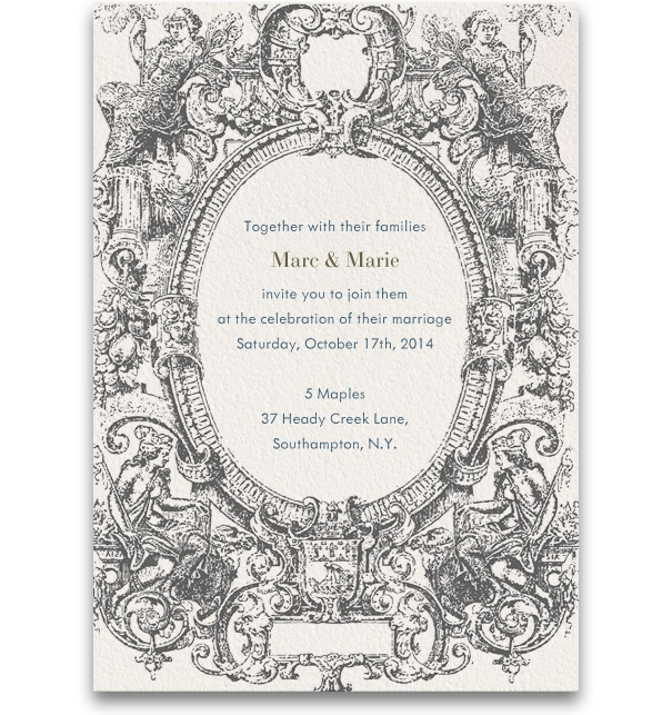 Grey Wedding Invitation template with grey spring theme.