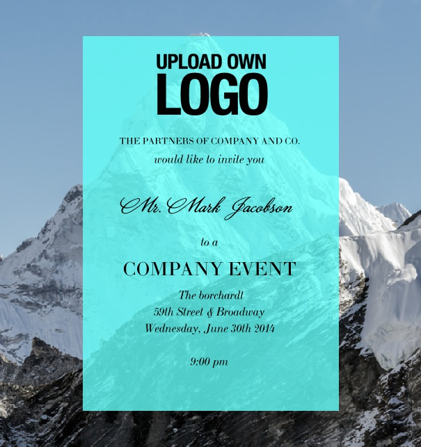 Online Corporate Invitation template with blue transpartent text field.