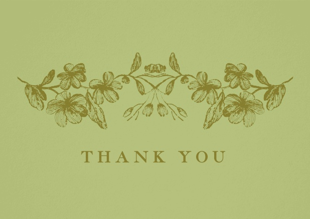 Green thank you card with flowers.