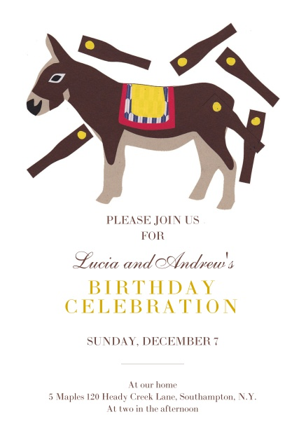 Online Birthday Party Invitation Card with horse pinata.