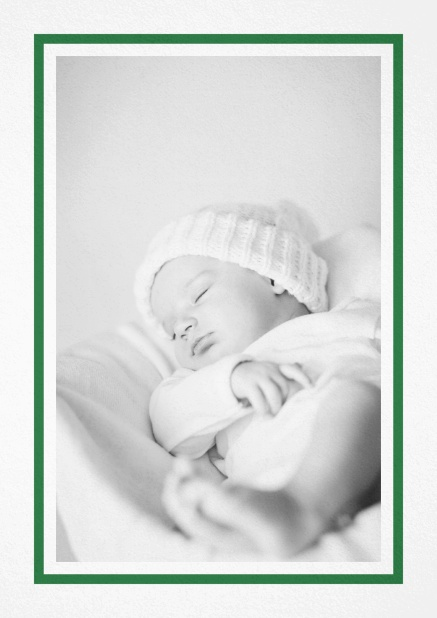 Birth announcement with photo box with pink frame and 2nd page for customizable text. Green.