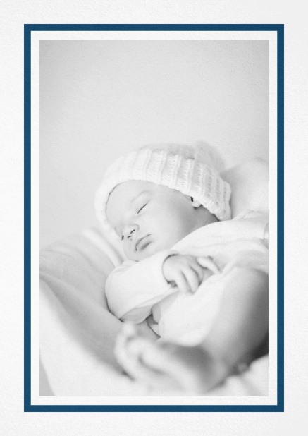 Birth announcement with photo box with pink frame and 2nd page for customizable text. Navy.
