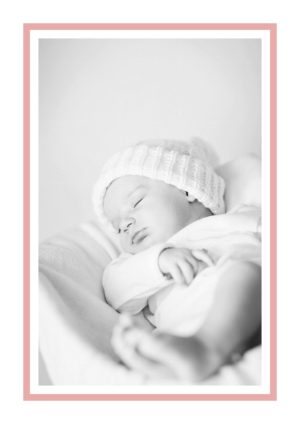 Birth announcement with photo box with pink frame and 2nd page for customizable text. Pink.