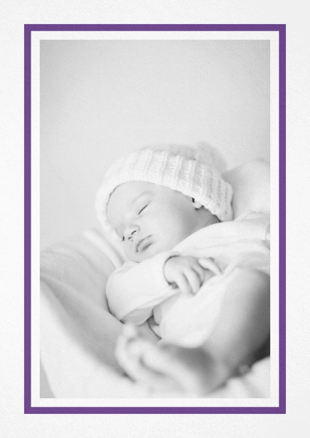 Birth announcement with photo box with pink frame and 2nd page for customizable text. Purple.