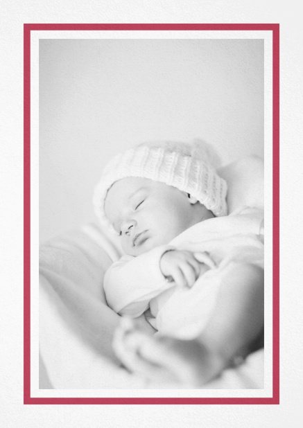 Birth announcement with photo box with pink frame and 2nd page for customizable text. Red.