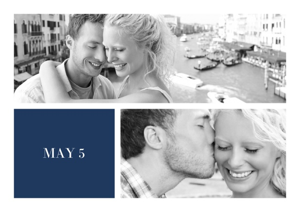 Online Wedding invitation card with two editable fotos and text on the front page of a four paged design. Navy.