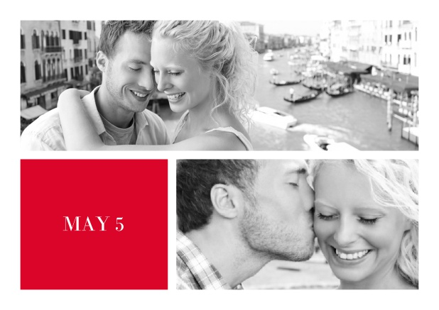 Online Wedding invitation card with two editable fotos and text on the front page of a four paged design. Red.