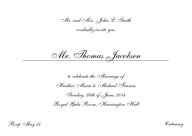 Online Invitation card with a classic hand written font - available in different colors. Black.