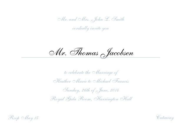 Online Invitation card with a classic hand written font - available in different colors. Blue.