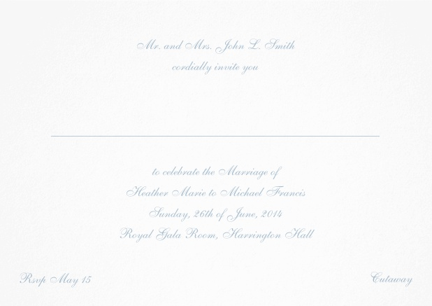 Card with a classic hand written font - available in different colors. Blue.