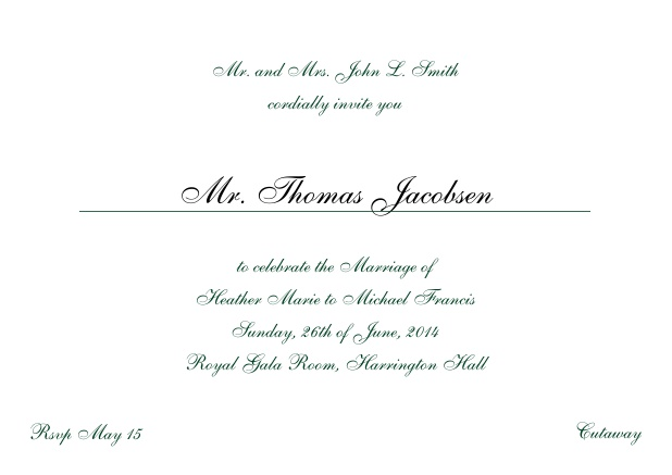 Online Invitation card with a classic hand written font - available in different colors. Green.