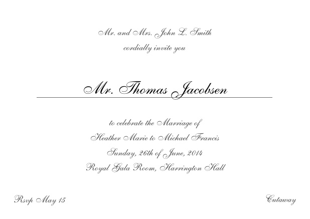 Online Invitation card with a classic hand written font - available in different colors. Grey.