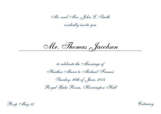 Online Invitation card with a classic hand written font - available in different colors. Navy.